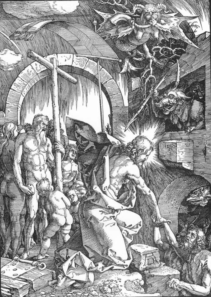 "Christ's Descent into Limbo, Woodcut (ca. 1510 ~ The art depicts what Christian Theology calls the ""Harrowing of Hell"", in which Christ was said to descend to hell after his death, setting free those who dwelled there."