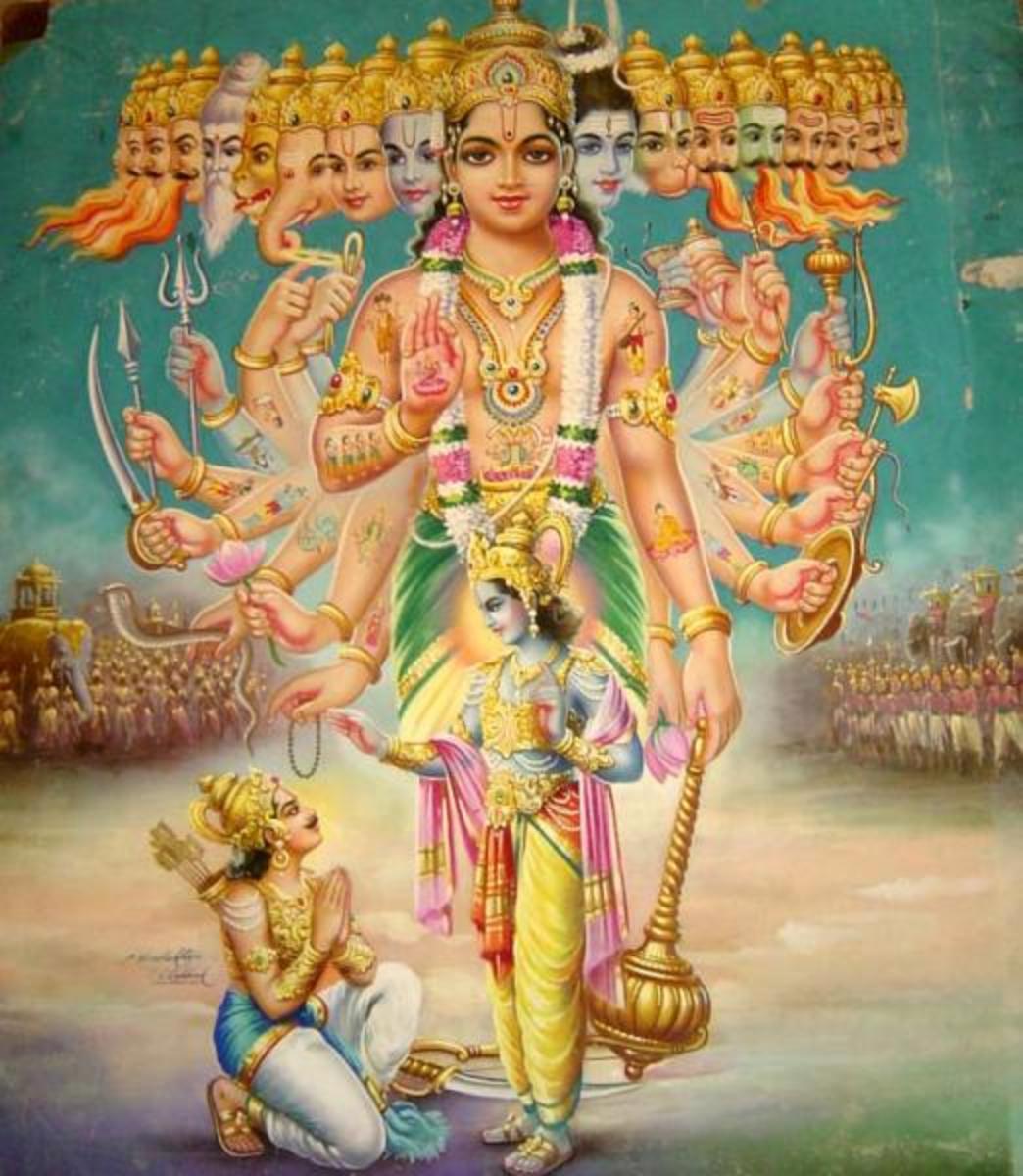 A key moment in the Bhagavad Gita: Krishna shows Arjuna his universal form (bazaar art by C. Konddiah Raja, c.1950's)