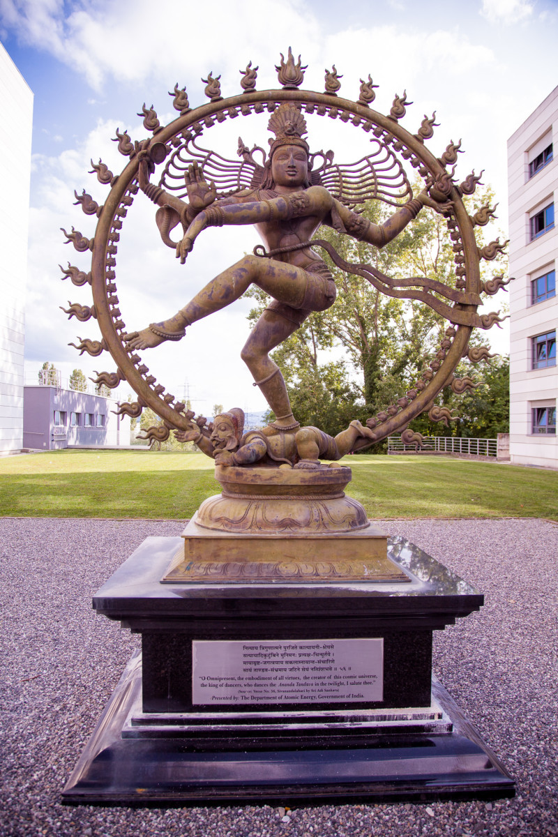 "Nataraja (a form of the Dancing Shiva) at CERN ~ Inscription: ""O Omnipresent, the embodiment of all virtues, the creator of this cosmic universe, the king of dancers, who dances the Ananda Tandava in the twilight, I salute thee."""