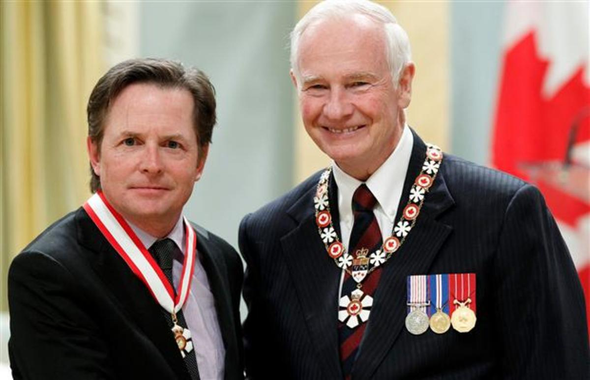 Michael J. Fox was awarded the rank of Officer in the Order of Canada in 2012