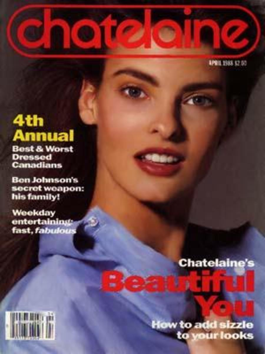 Rising star model Linda Evangelista on the 1988 cover of Canadian magazine Chatelaine