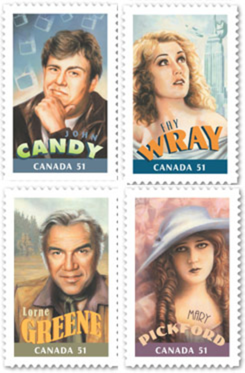 Canadians In Hollywood postage stamps issued July 24, 2009 by Canada Post