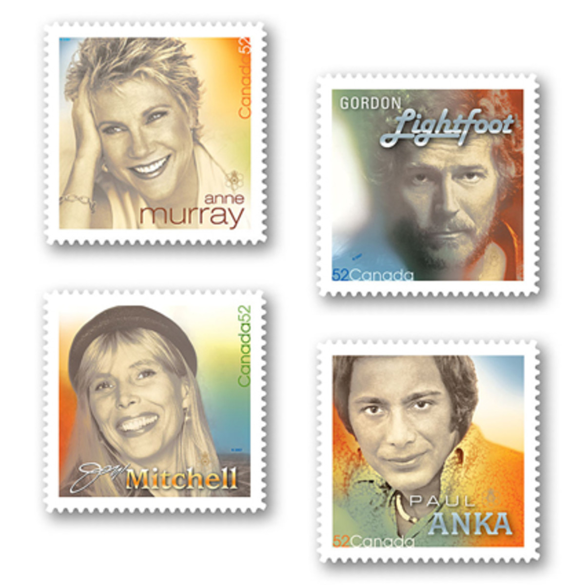 Canadian Recording Artists postage stamps issued June 29, 2007 by Canada Post