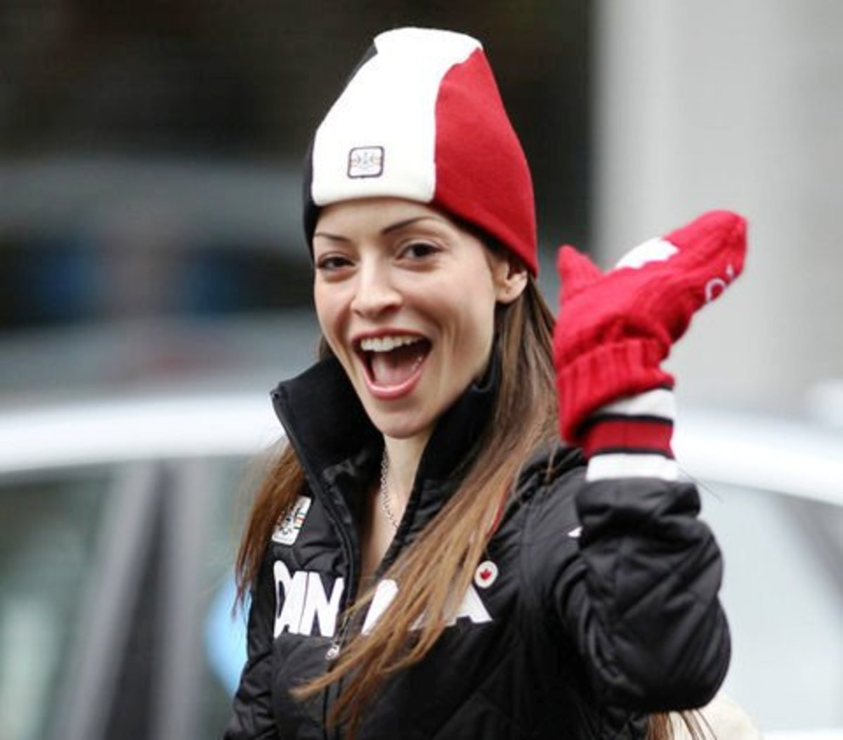 Emmanuelle Vaugier in patriotic gear at the Vancouver Winter Olympics