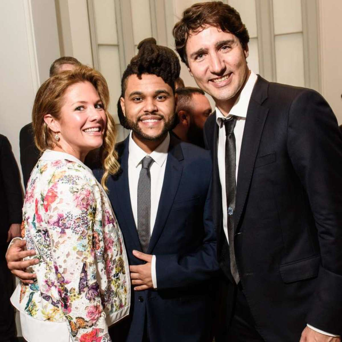 The Weeknd with Canadian Prime Minister Justin Trudeau and wife Sophie at the Canada 2020 gala in Washington DC