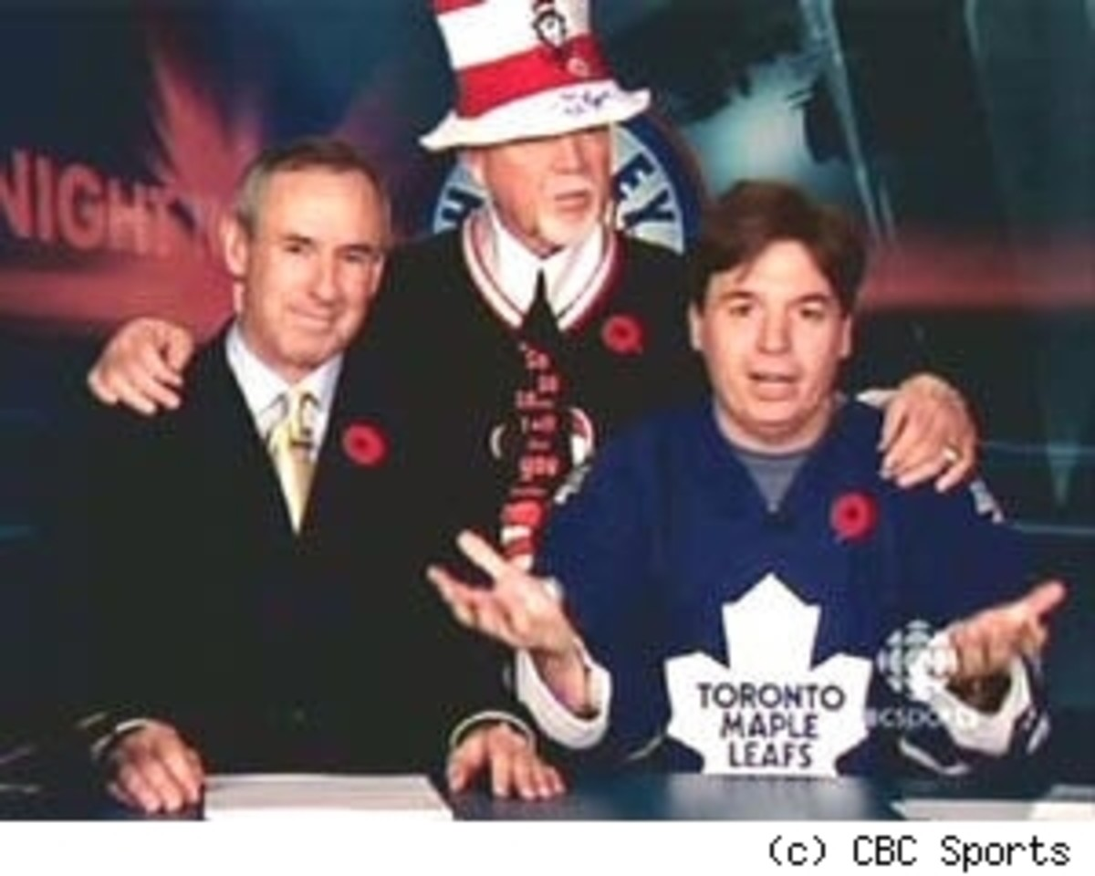 Mike Myers, lifelong Toronto Maple Leafs fan, appeared on Hockey Night in Canada