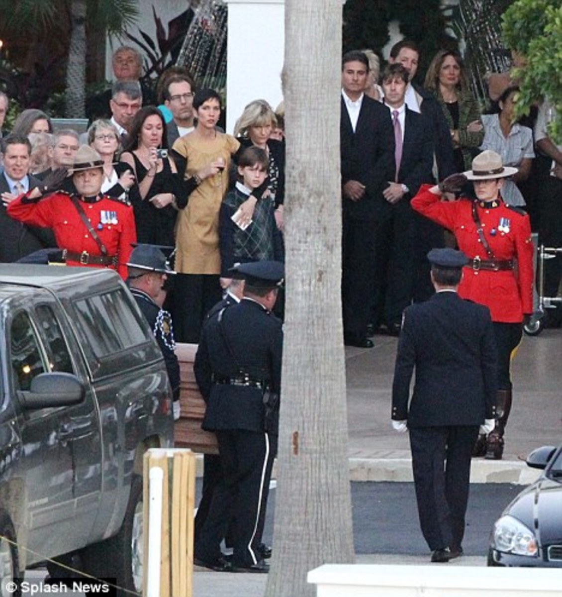 The Canadian Mounted Police carried Leslie Nielsen's coffin at his funeral in Florida