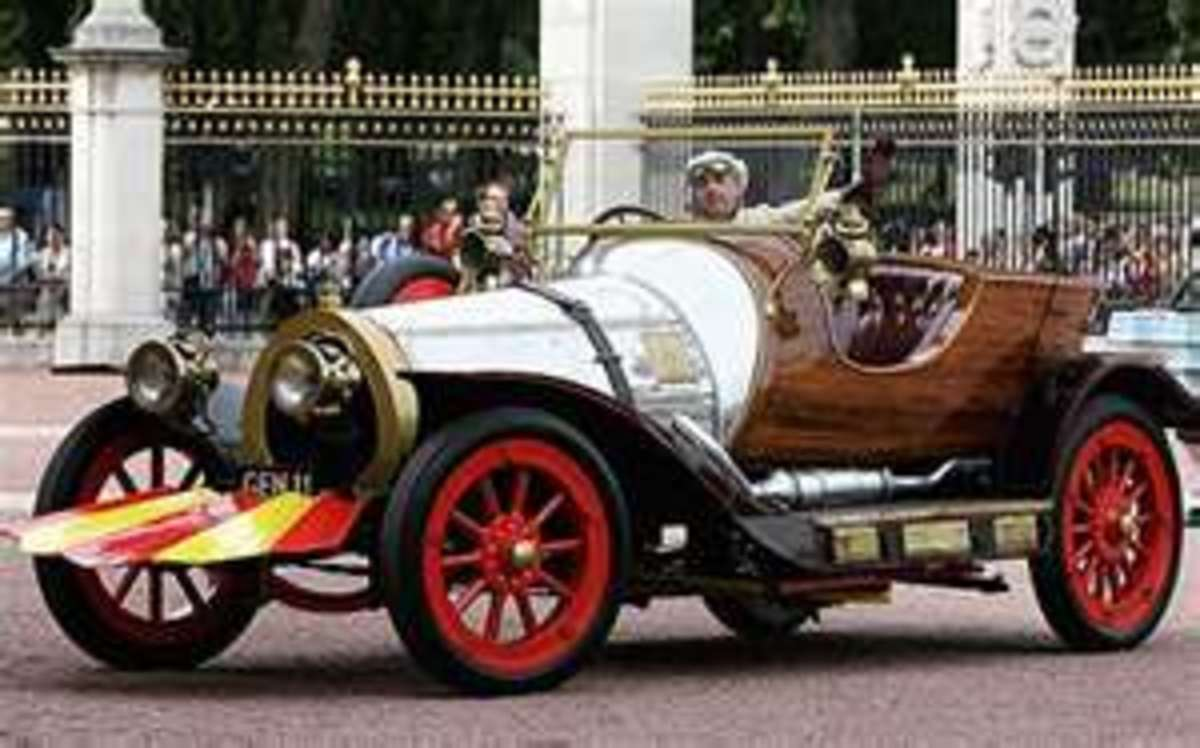 Pierre Paxton's Chitty in London, note the fiberglass front ailerons