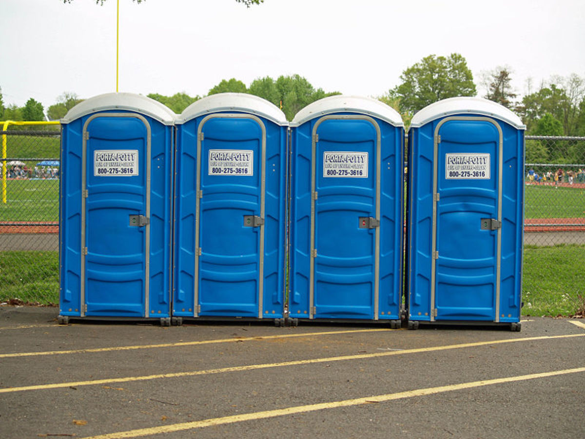 typical line of port a potties