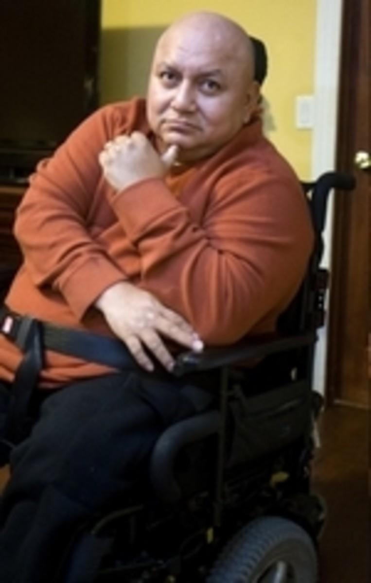 Pedro Toala in wheelchair