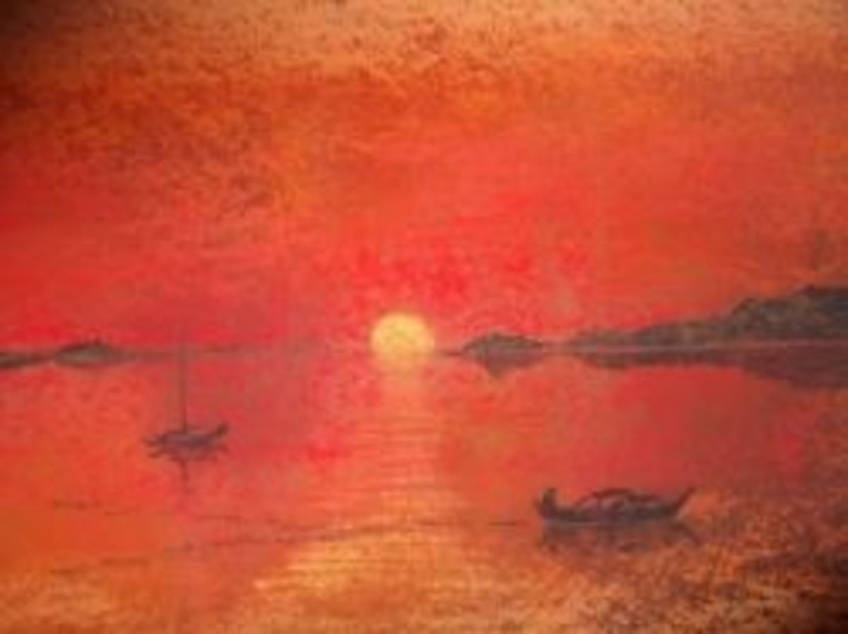 red sunset with boats