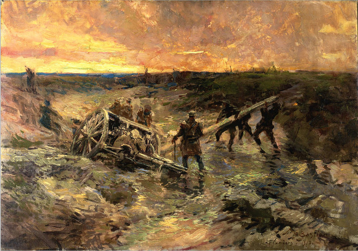 Alfred Theodore Joseph Bastien - Canadian Gunners in the Mud. Image courtesy of Wiki Commons