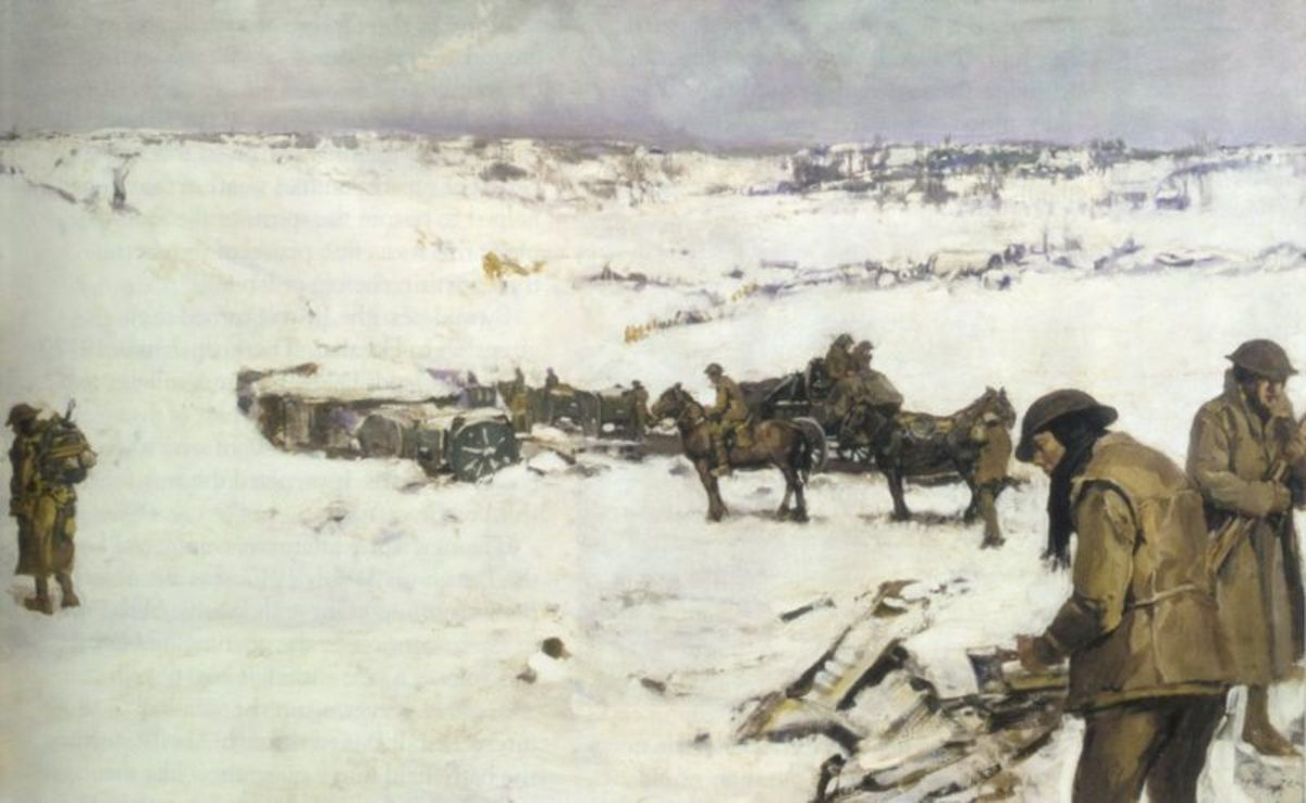 Mametz, Western Front: men, animals and supplies in snow covered valley (1919) by Frank Crozier (1883-1948), Australian official war artist.  Depicts a scene in the rear area of I Anzac Corps during the Battle of the Somme,  winter of 1916-17