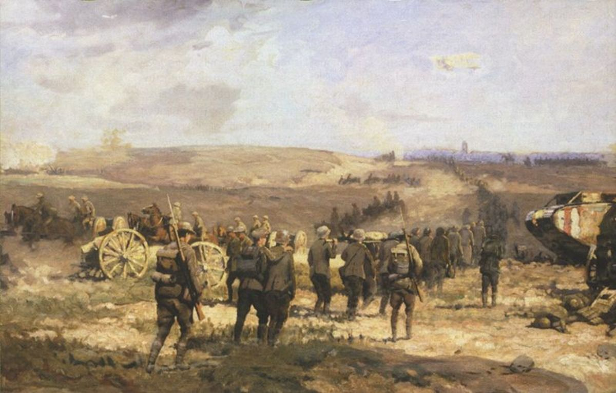 English: 8th August, 1918 (oil-on-linen, 107 cm x 274 cm, 1918-1919) by Will Longstaff, Australian official war artist. Depicts a scene during the Battle of Amiens. The view is towards the west, looking back towards Amiens. Courtesy of Wiki Commons