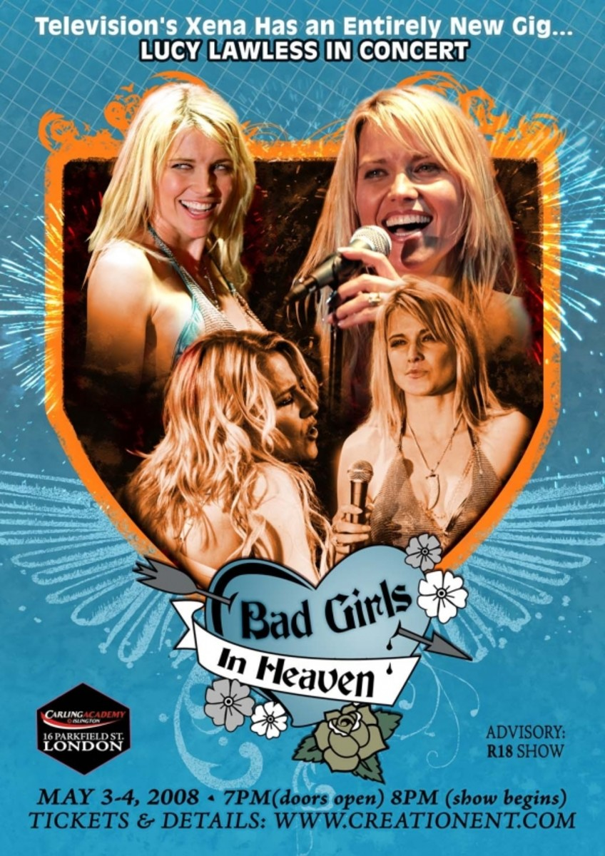 Lucy Lawless Bad Girls in Heaven Concert Poster
