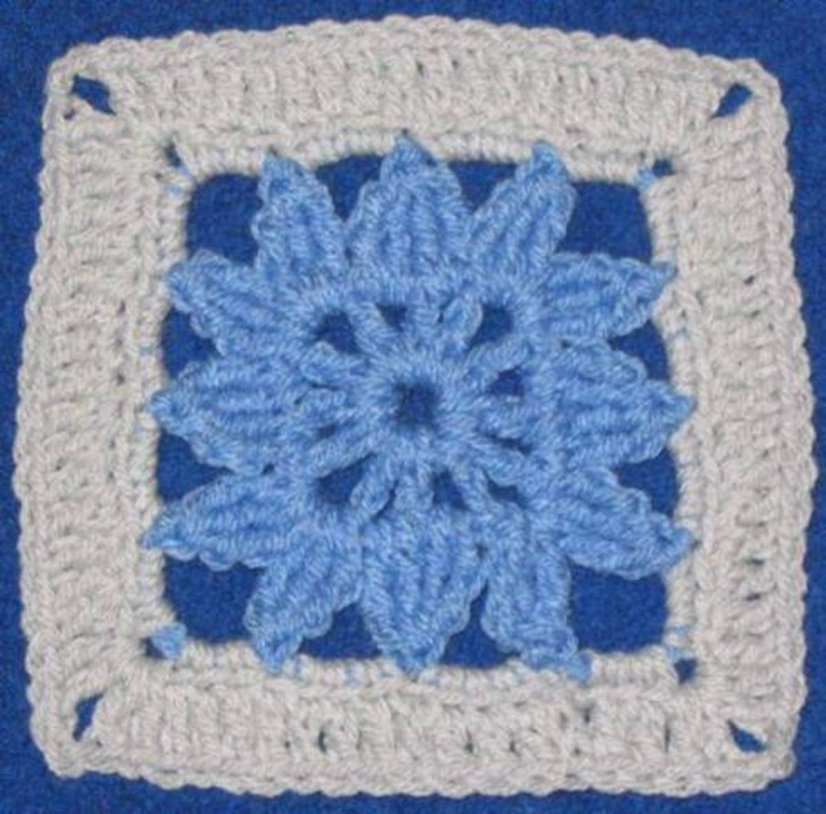 Granny Square for Checkerboard Textures Throw Crochet Pattern