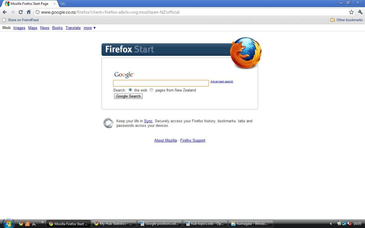 Firefox version of Google New Zealand in English