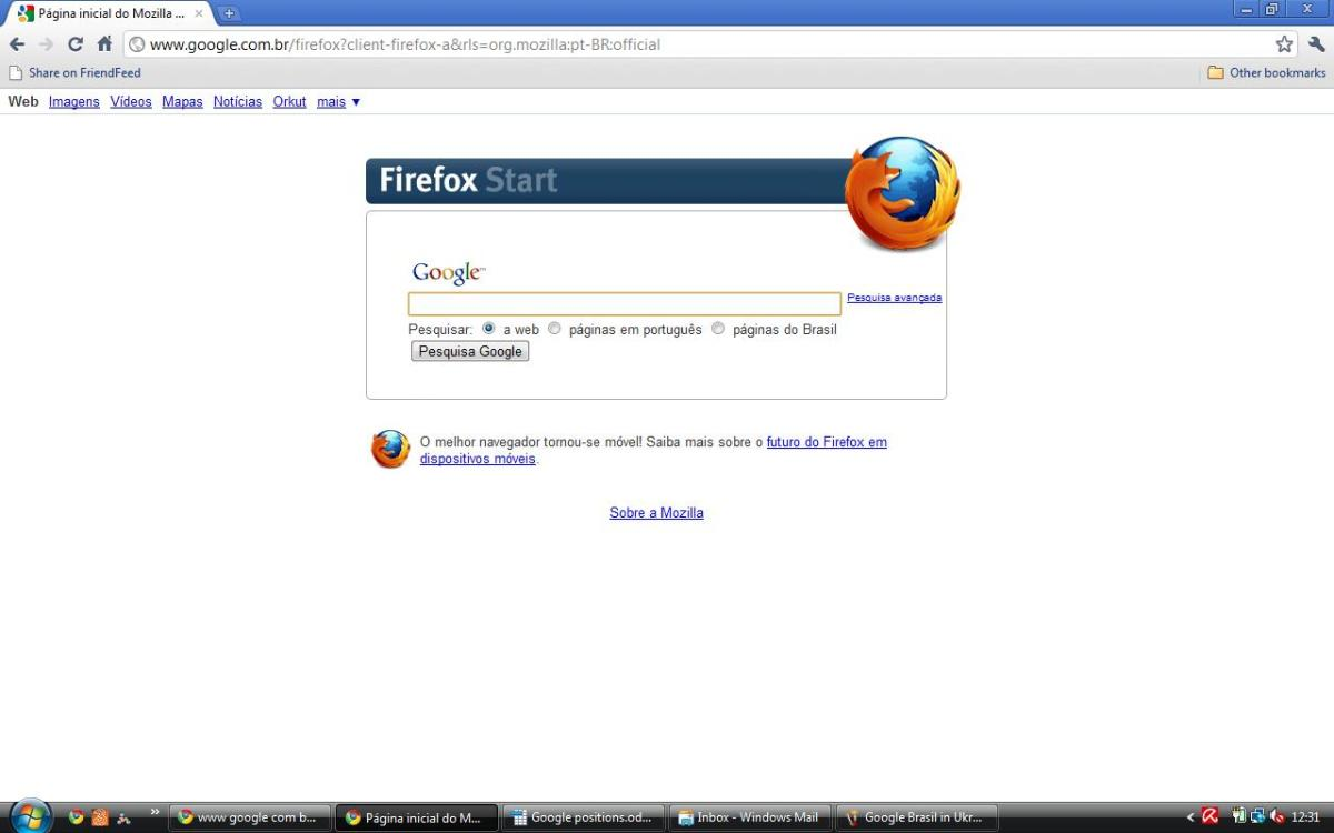 Google Brasil (Firefox version) in Portuguese