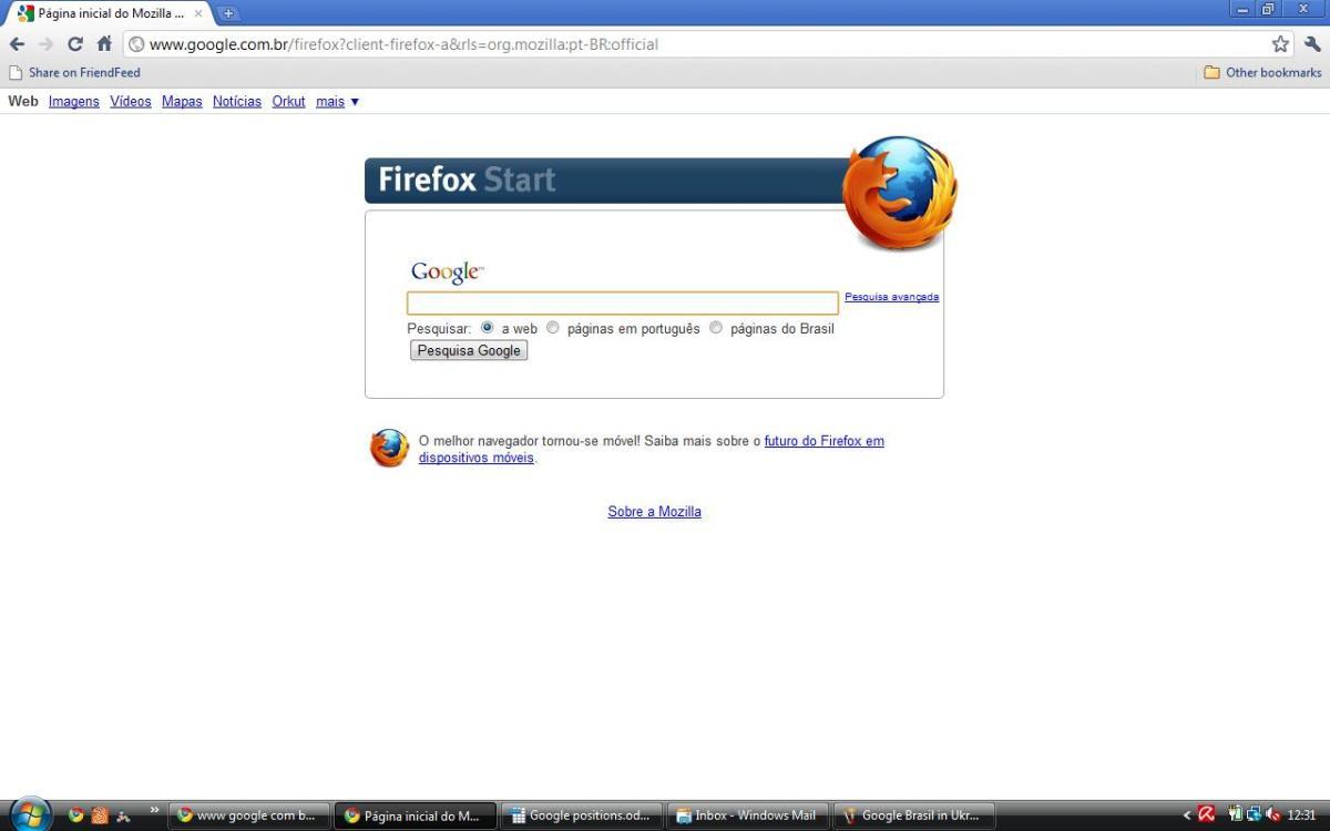 Google Brasil (Firefox version) in Portuguese