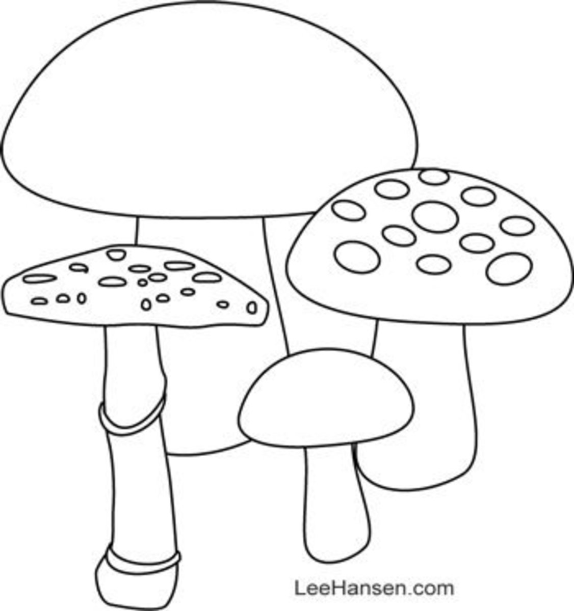 Mushrooms coloring page