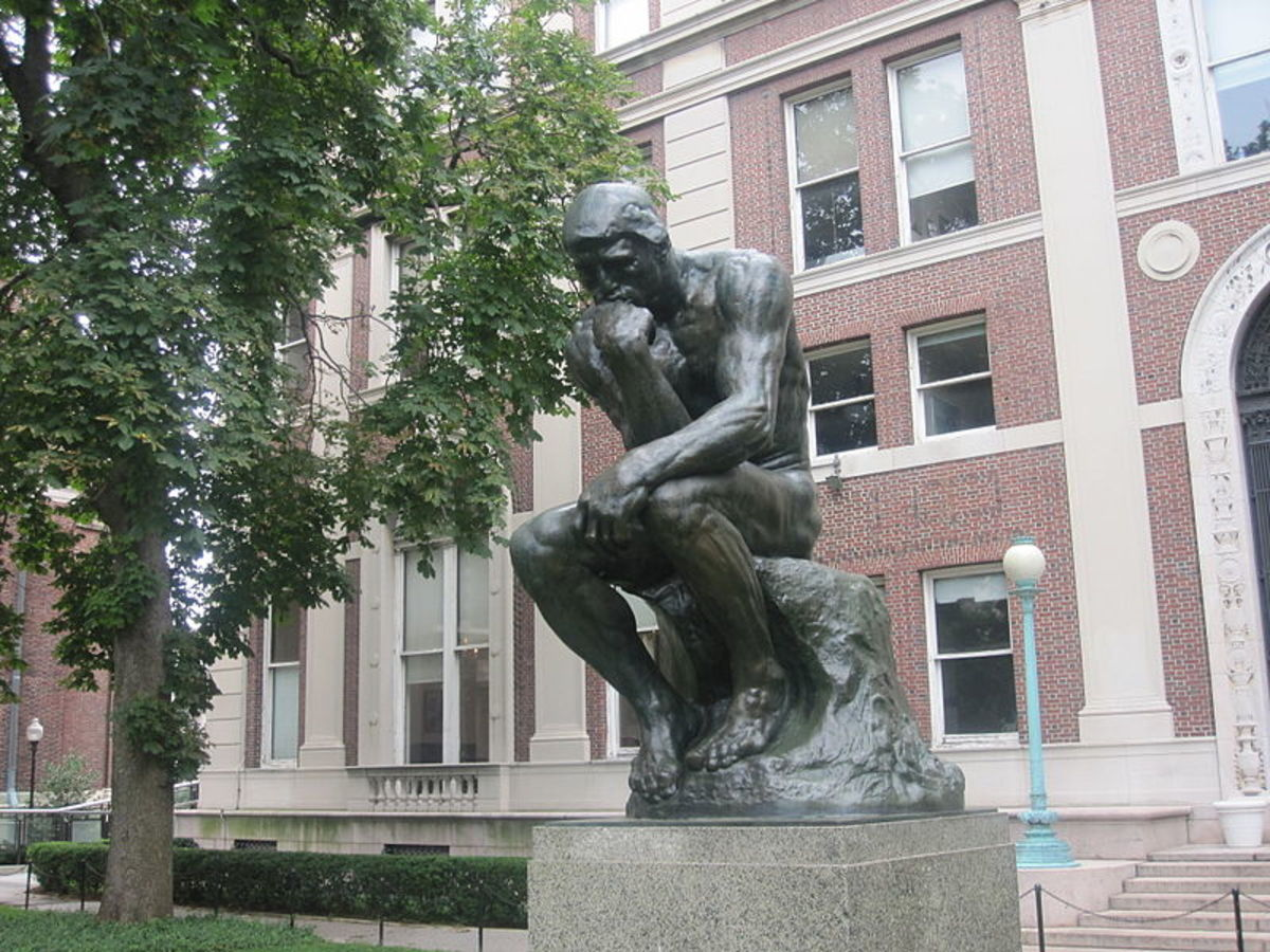 "Auguste Rodin's ""The Thinker"", symbol of philosophers and wisdom seekers"