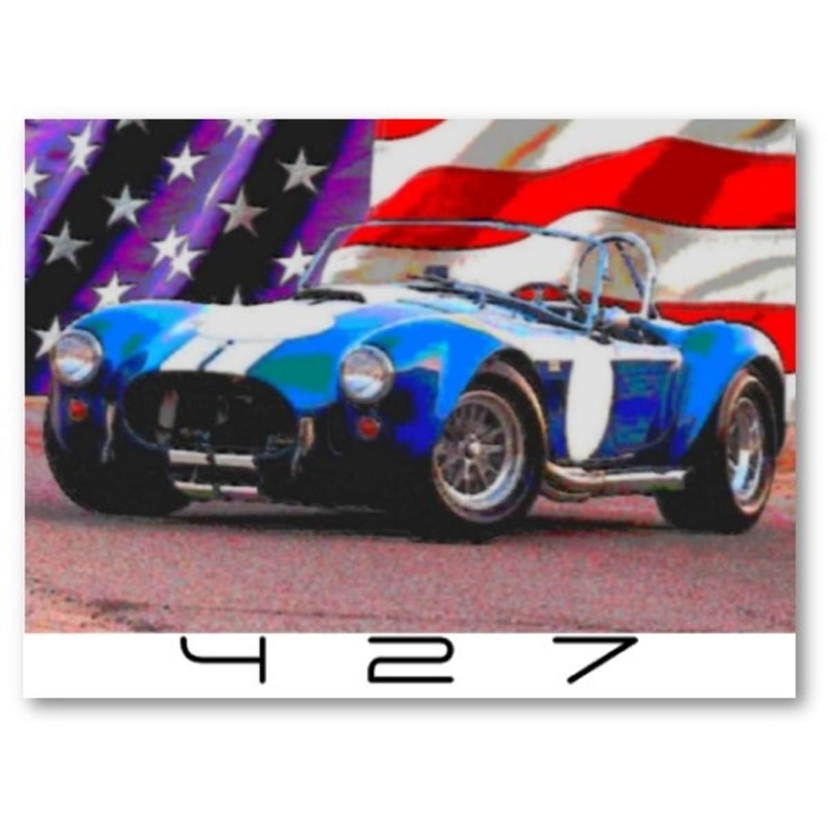 Shelby Cobra 427 American Flag Poster