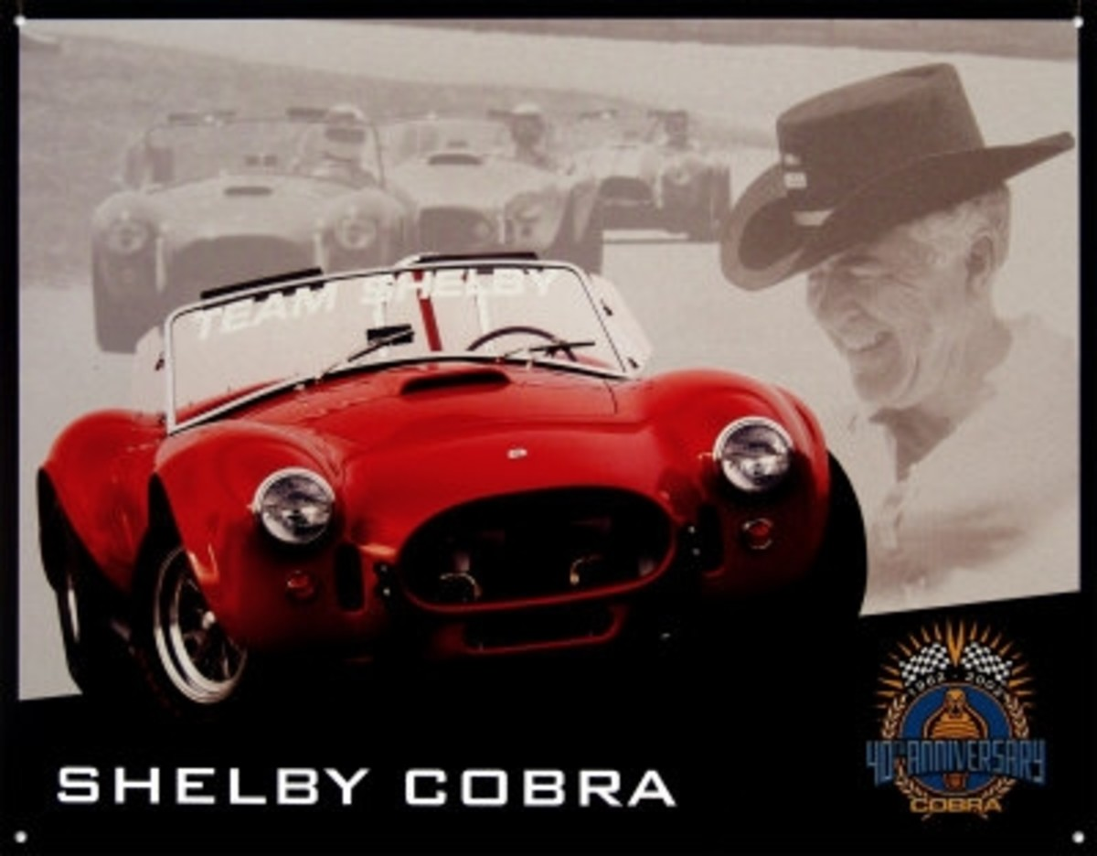 Shelby Cobra 40th Anniversary Tin Sign by Carroll Shelby