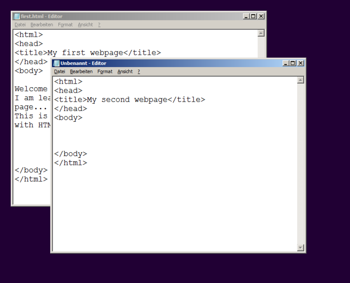 Start by typing the basic HTML code into a new editor window.