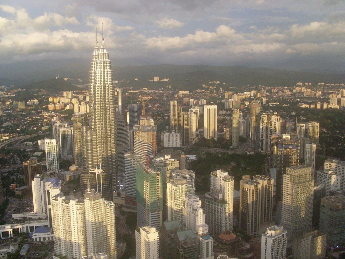 Petronas Towers, as seen from the KL Tower, Kuala Lumpur.