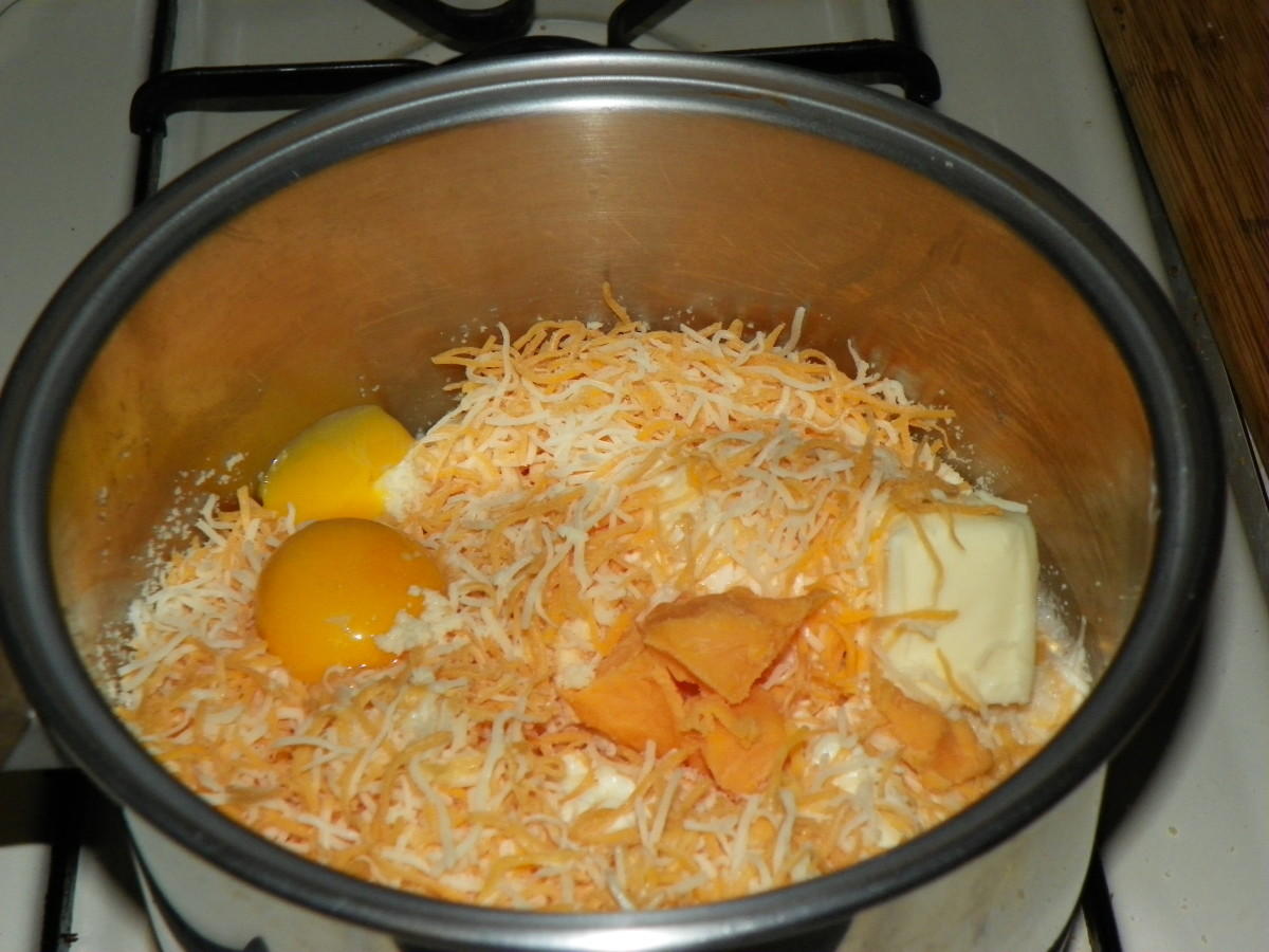 Begin stirring all cheese sauce ingredients slowly over low heat. remember to beat egg whites independently to make the sauce light and not heavy.