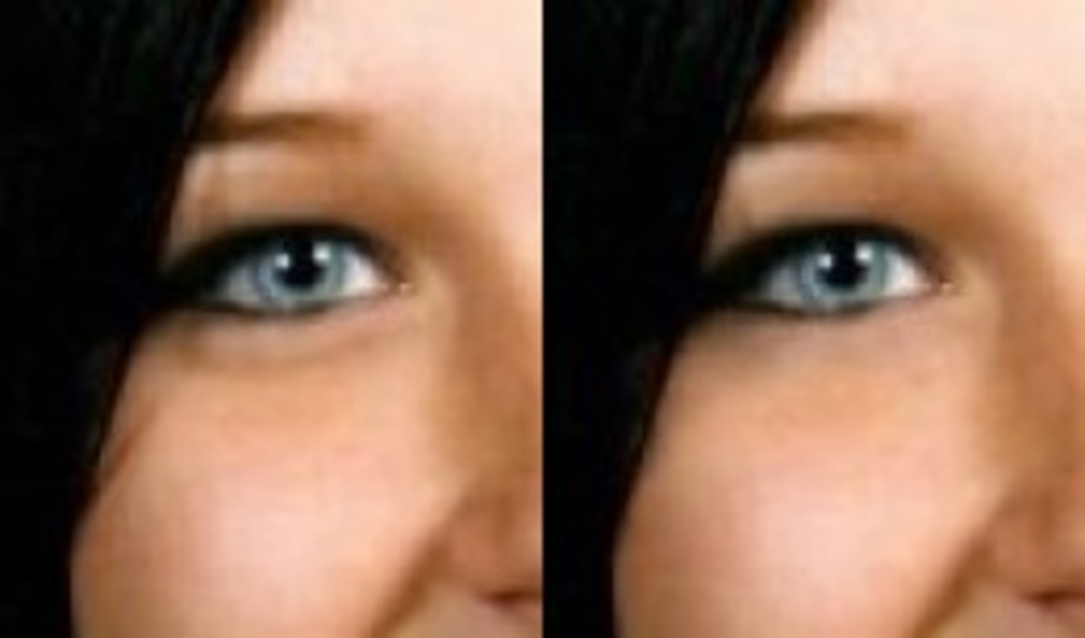 The left photo is the original. The right photo is the manipulated one. No saggy eyes.