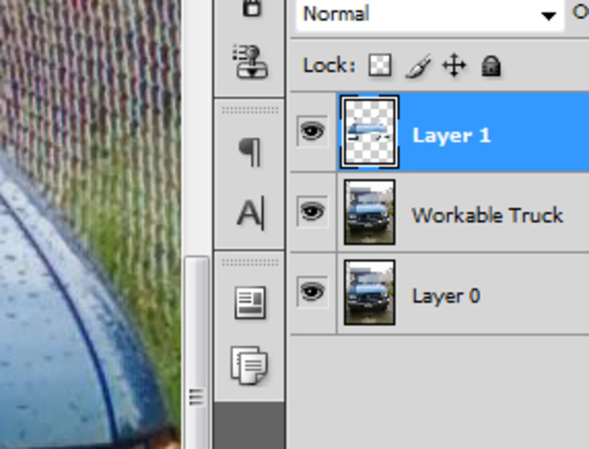 Thumbnails are to the left of the layer name, and to the right of the eyeball
