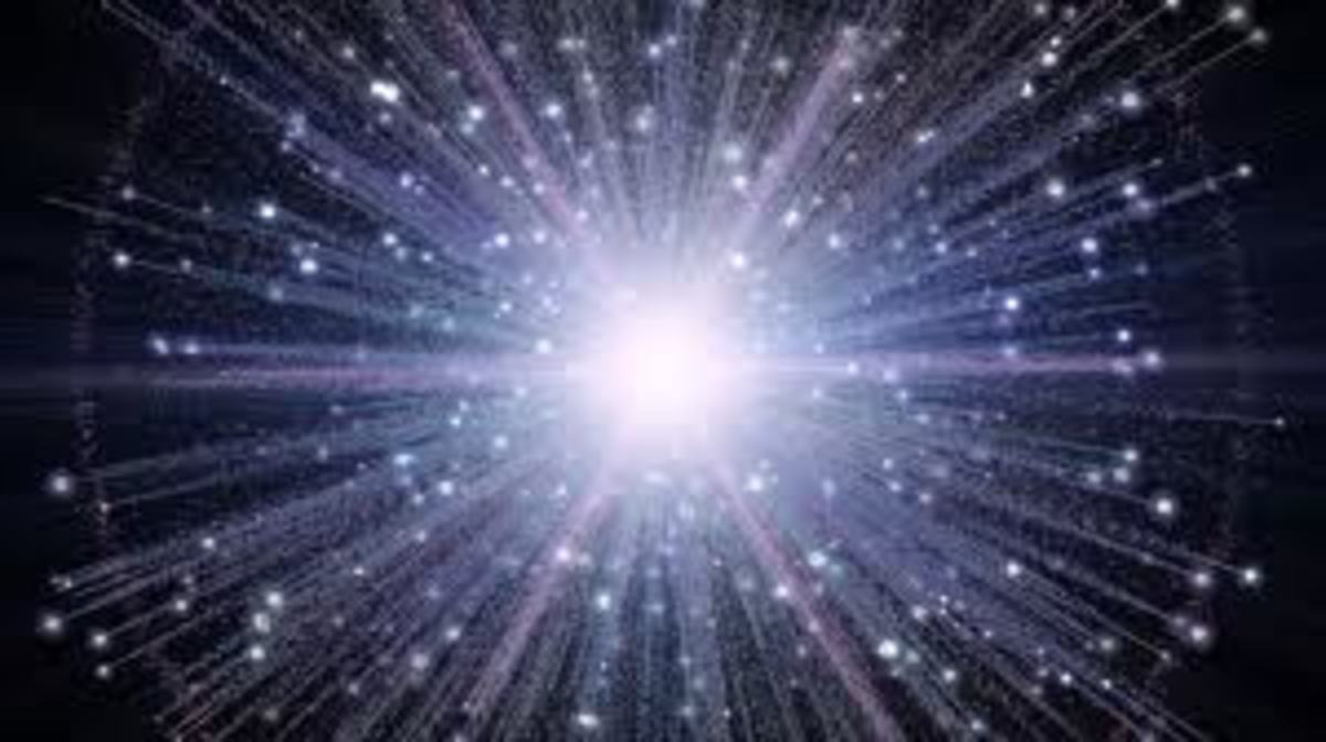 The big bang theory is when the world as we know it started, scientists believe that before everything was in another dimension called a black hole or something like that.