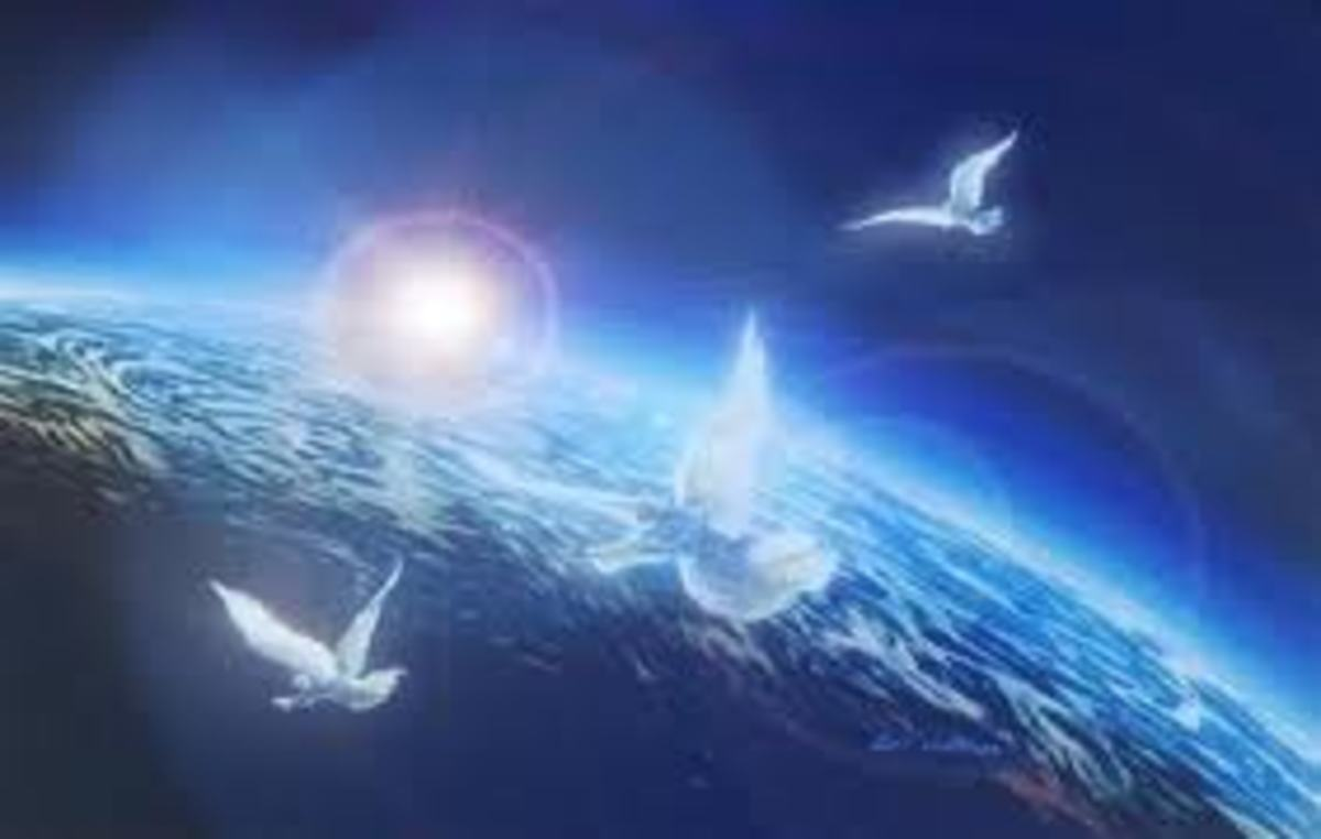 Let us just imagine that there are angels and souls in heaven above our beautiful blue  planet earth and there are also birds and other living being.