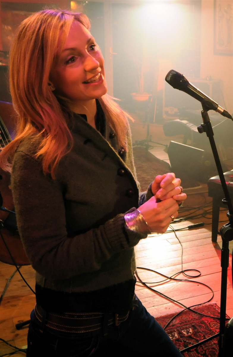 Cara Dillon, Irish folk singer, at a recording session in 2008.