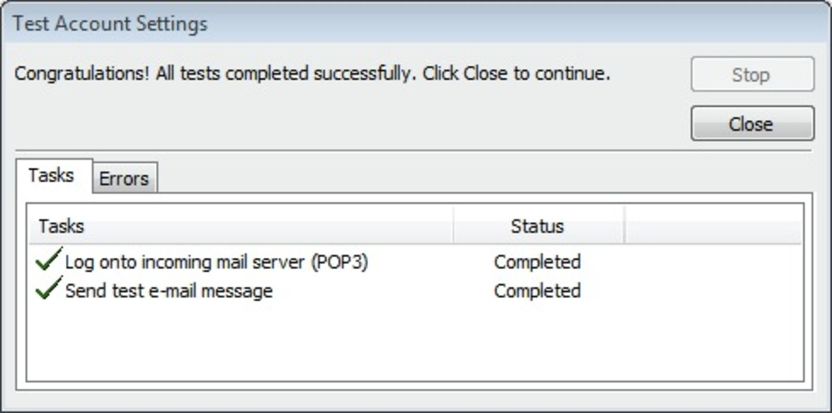 Test Account Settings window