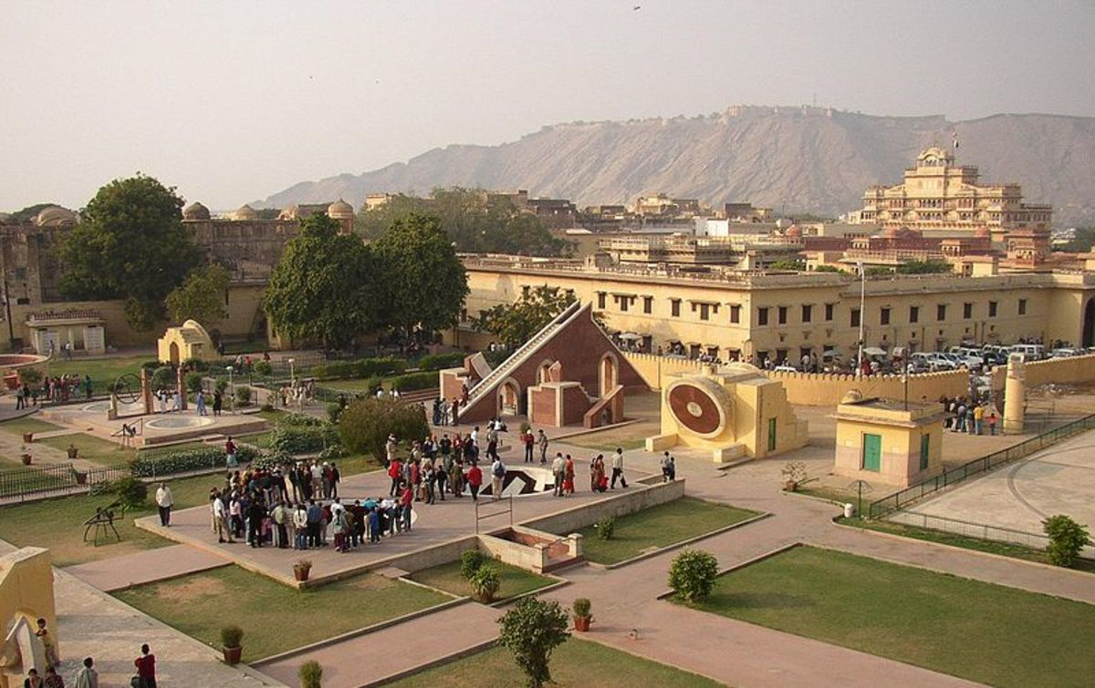 Tourists gathering at Jantar Mantar