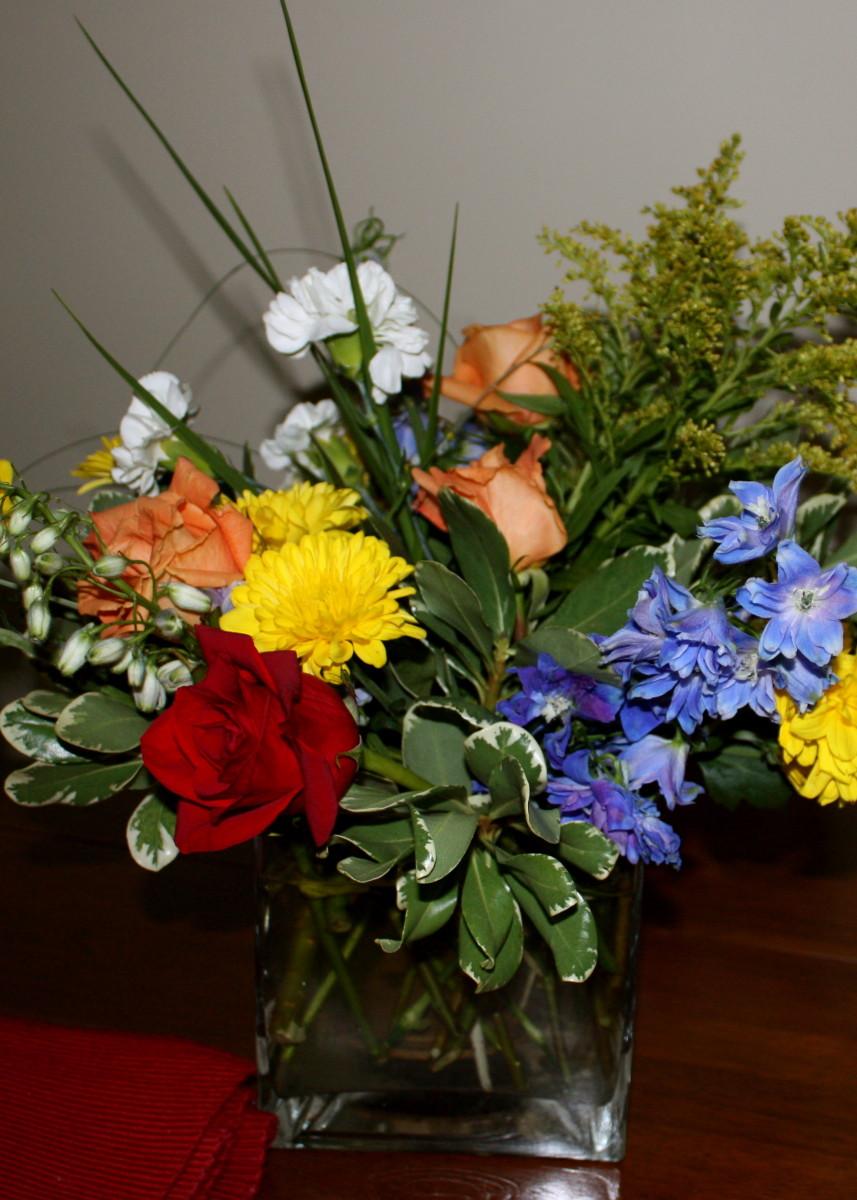 A flower arrangement I made for company