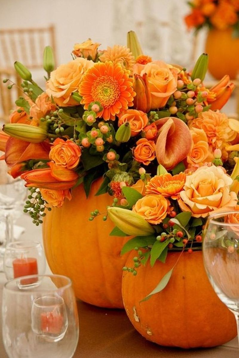 Beautifuf fall arrangement using a real pumpkin