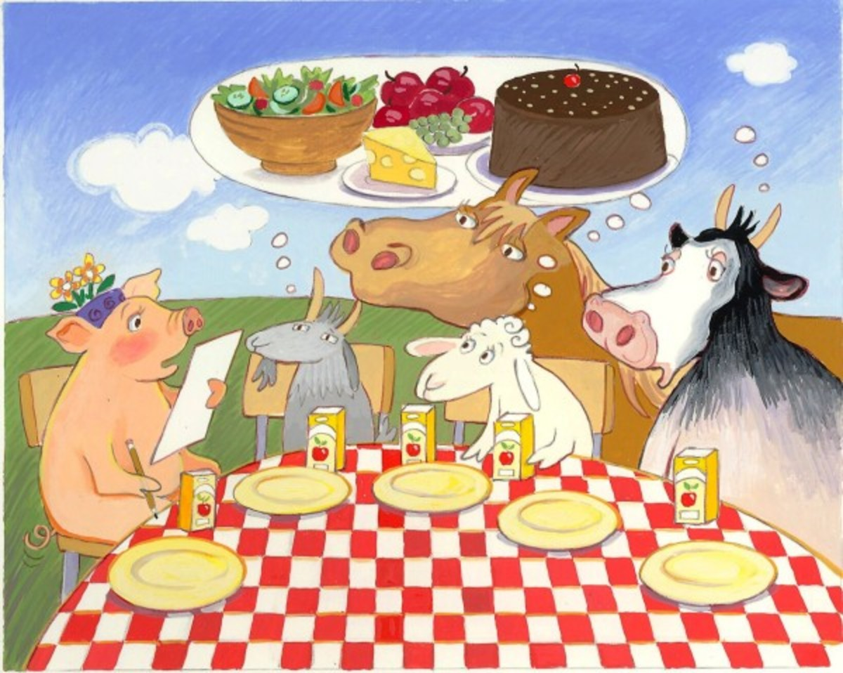 This cartoon shows some of our most popular sources of meat. Here we see them dreaming of what they would like to eat. The real picture is far different.