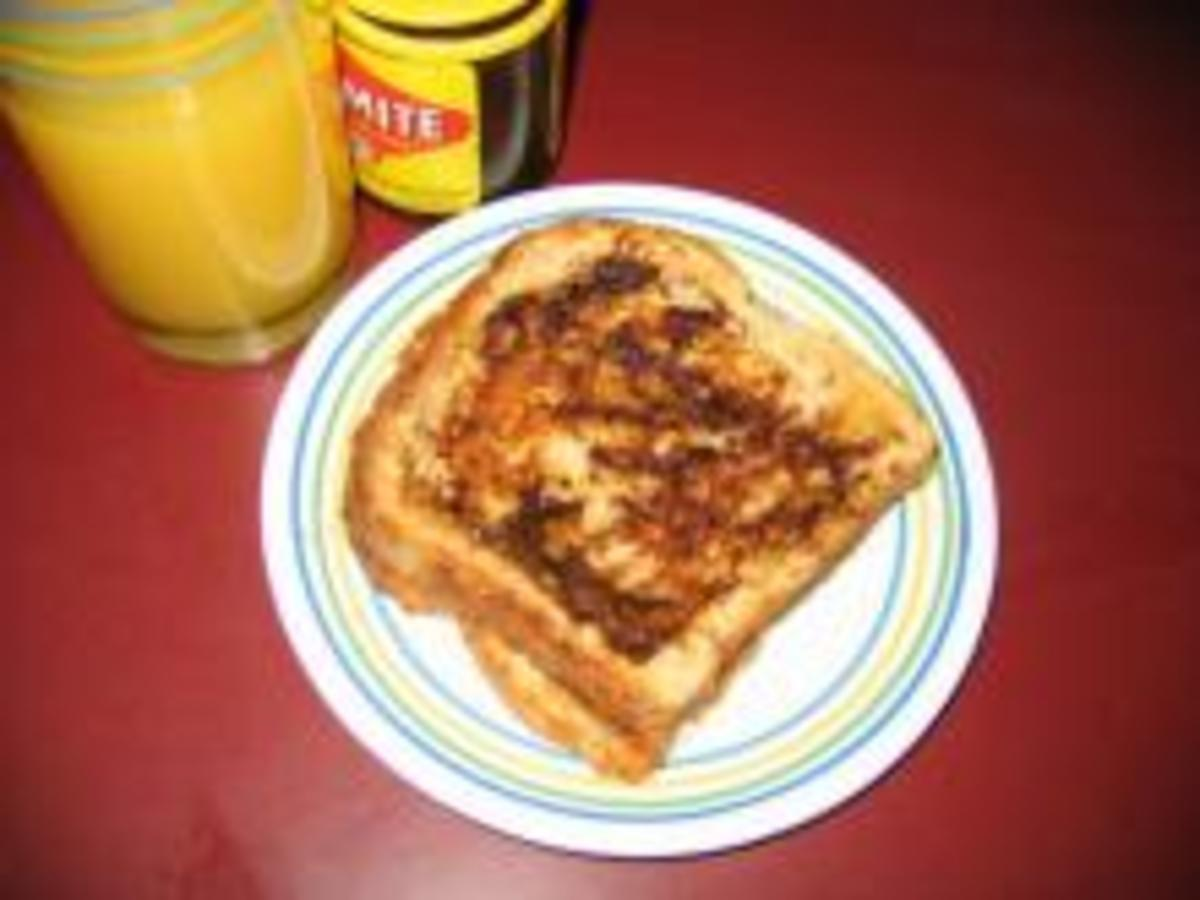 Vegemite toast with a glass of juice