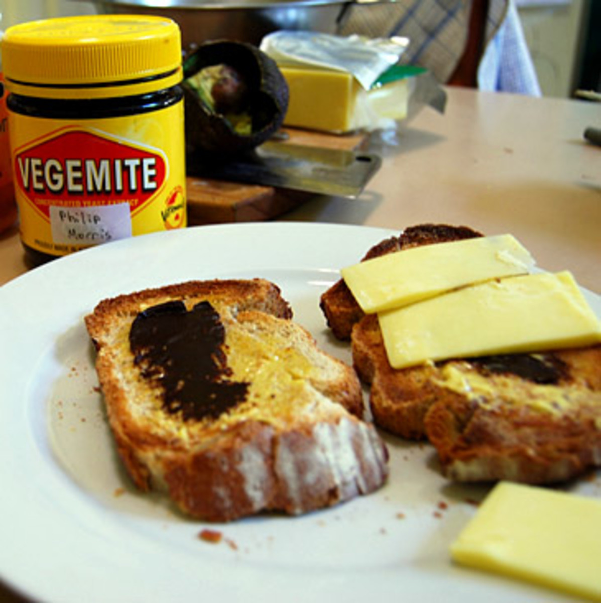 There are many ways to dress up a plain Vegemite sandwich - Vegemite and cheese slices is a very popular way to enjoy a Vegemite sandwich, plus it adds a good source of dairy & an extra cheesy flavour & texture to an otherwise plain sandwich filling.