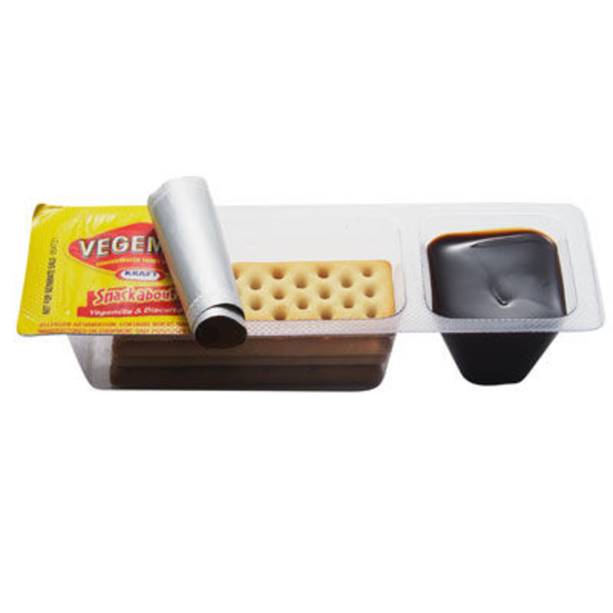 A convenient way to enjoy Vegemite and dry biscuits/crackers on-the-go.  These pre-packaged Vegemite snacks are an Aussie schoolyard recess staple.