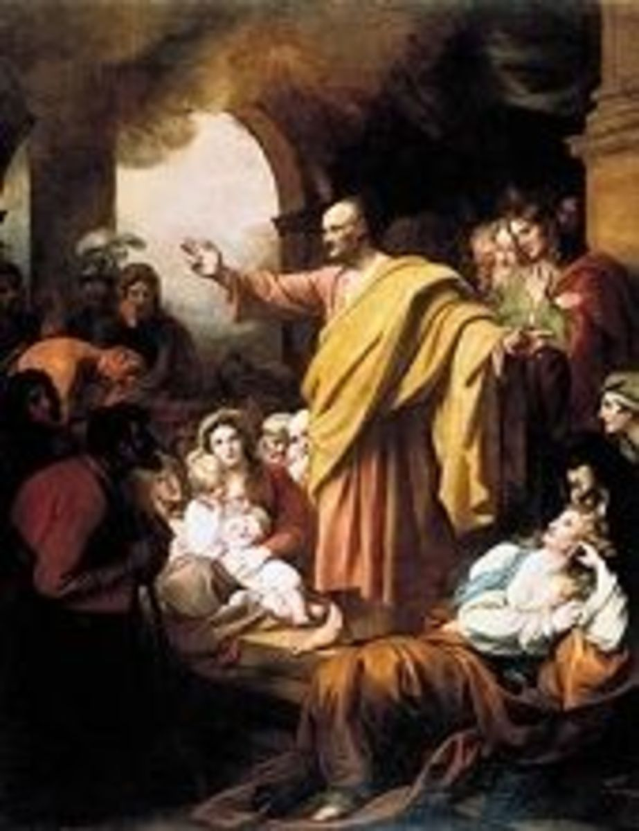 Painting of Peter preaching at Pentecost, by Benjamin West (1738-1820).