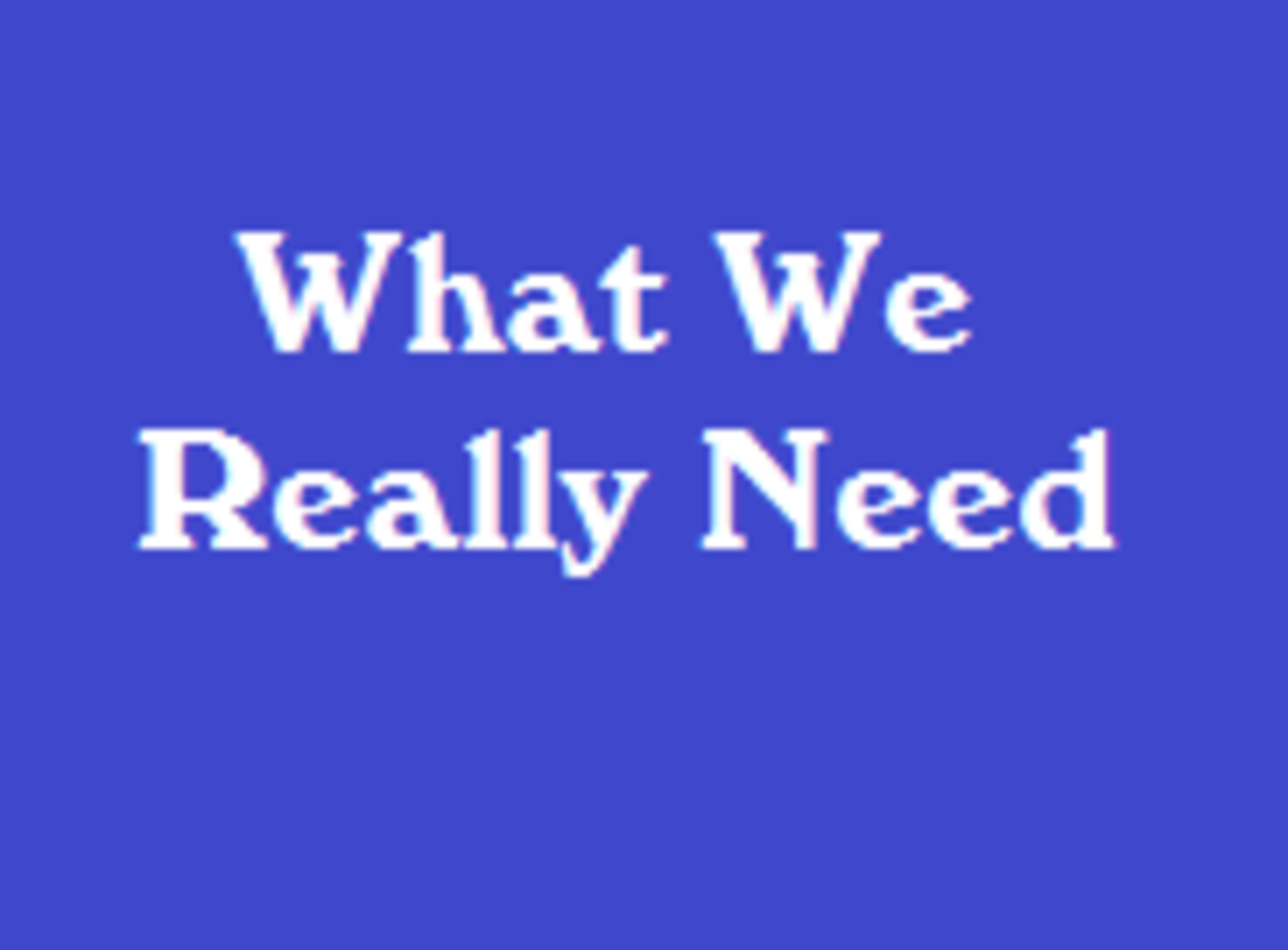 What We Really Need -- Words and Music by Joan Alexander-Hall