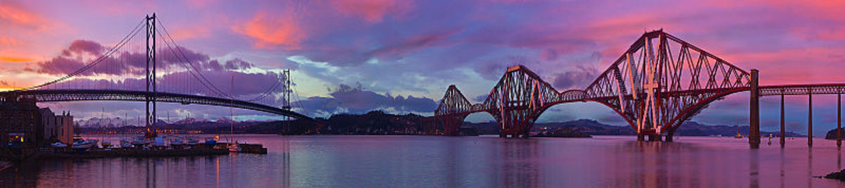 The famous bridges over the Firth of Forth River - the old cantilever rail bridge is on the right of the picture and the more modern road bridge on the left.