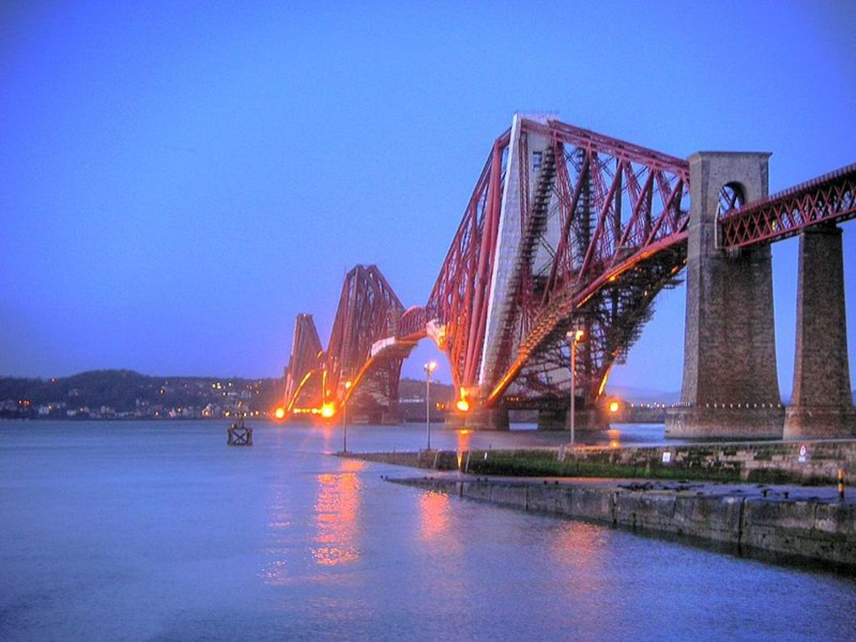 The Forth Rail Bridge by night.