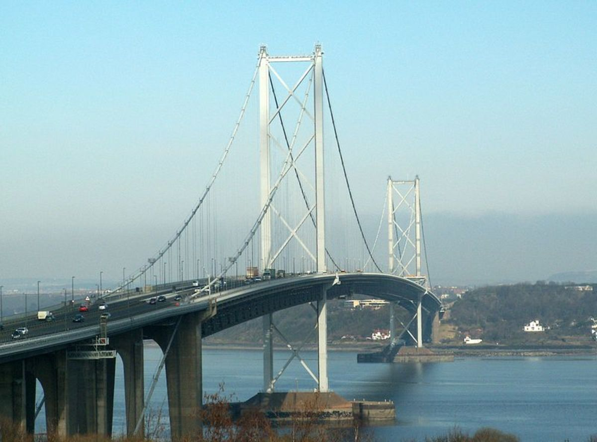 The Forth Road Bridge linking Fife with the Lothians.