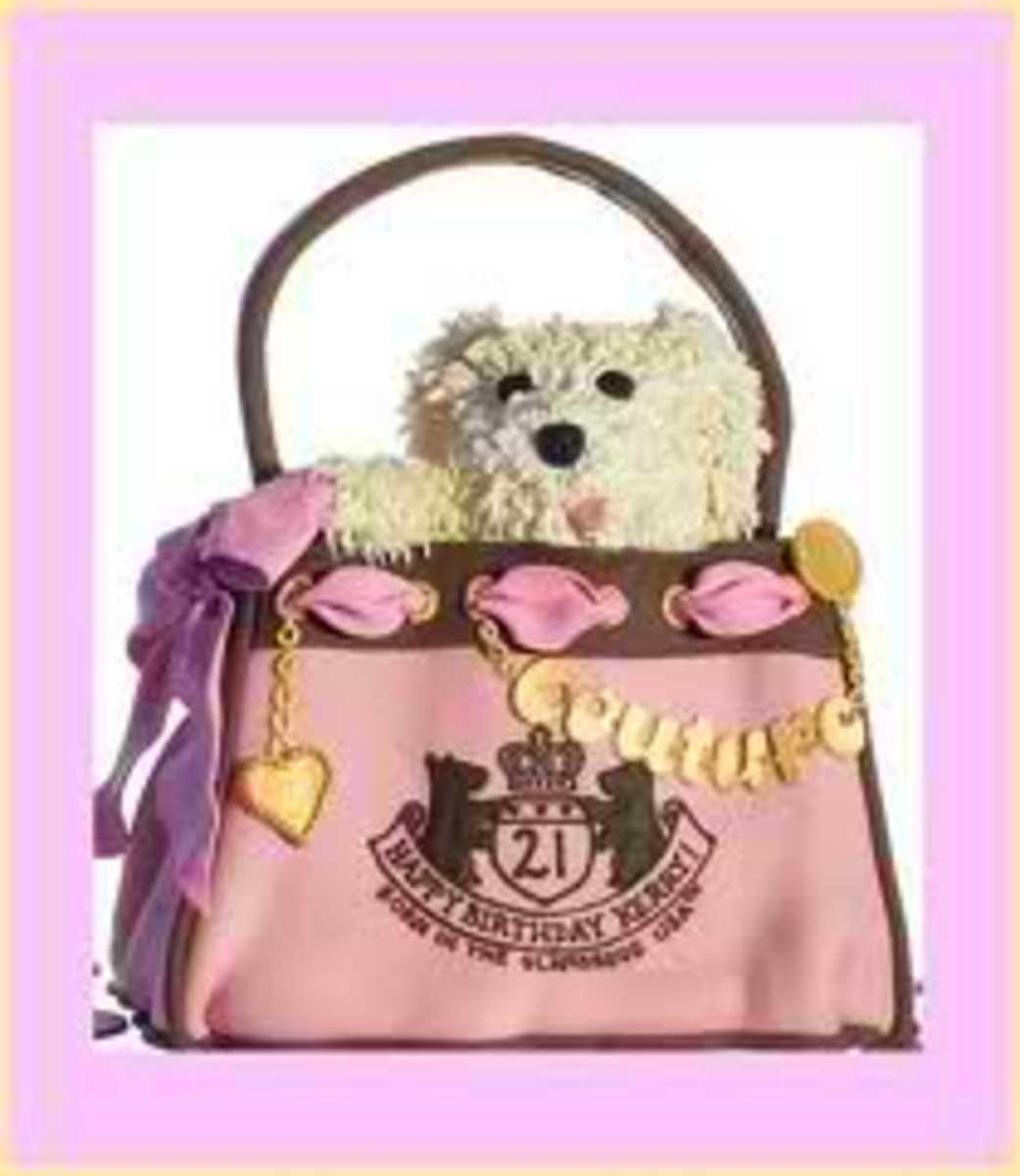 This Juicy inspired purse cake is the cutest thing since the teddy bear sticking out the top was created. I love it
