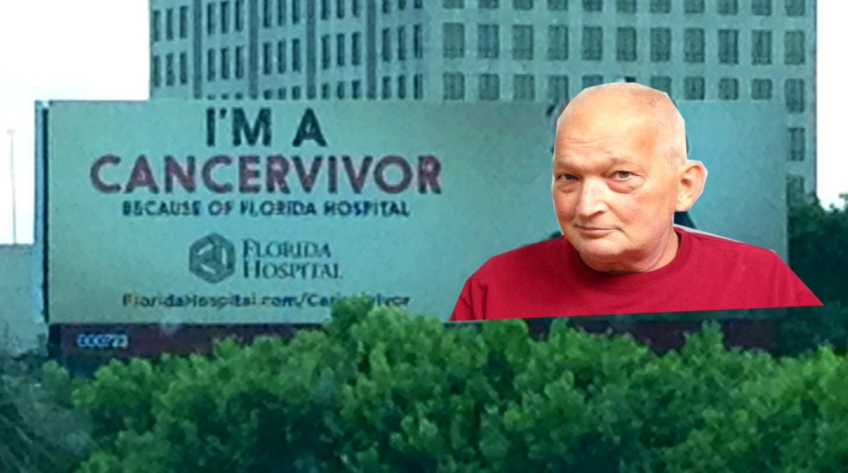 Story behind the photo...This billboard is on I-4 in Orlando. I took a photo of the billboard and added Dave's face...why? Because he is a cancer survivor. 6-20-14